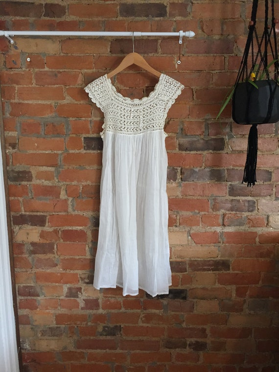 1920s Antique Cotton Handmade Lace Nightie