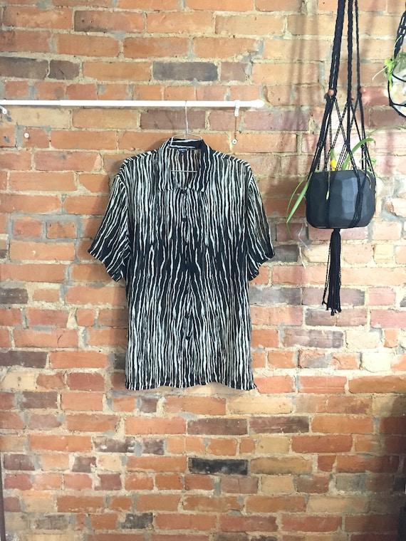 Oversized Zebra Print Chiffon T-shirt