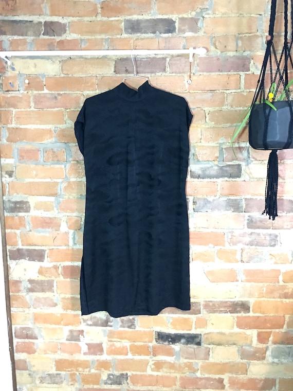 Subtle Cloud Print Silk Cap Sleeve Mockneck Dress