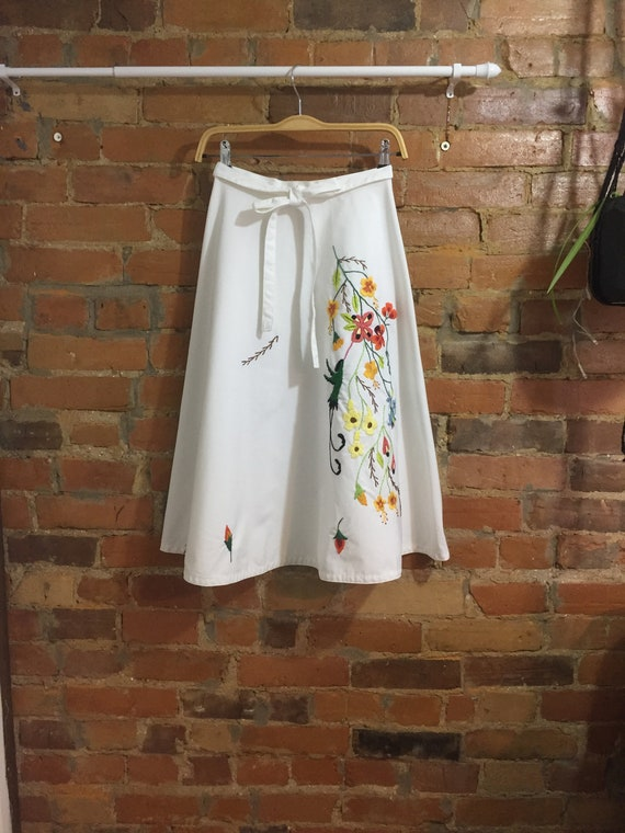 Hand Embroidered Tropical Wrap Skirt