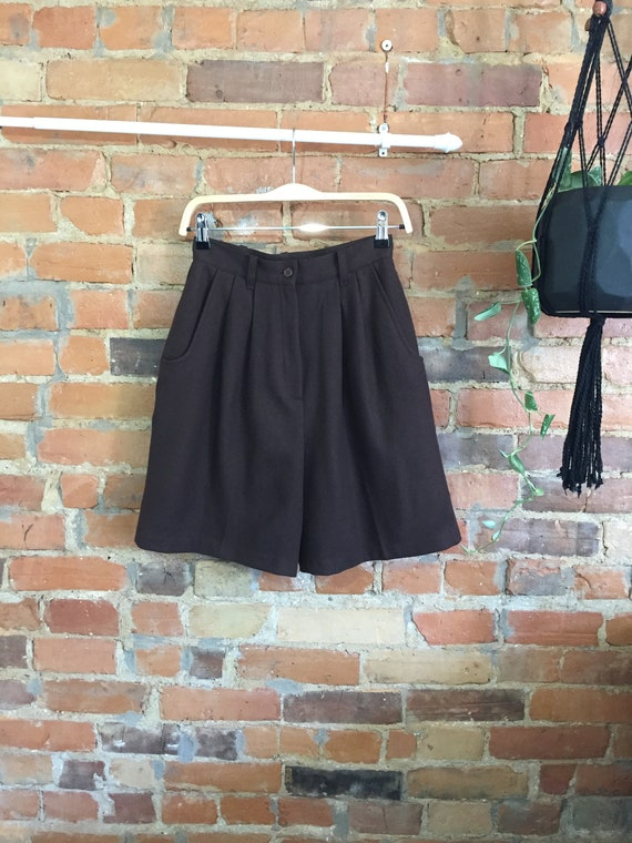 Chocolate Brown Soft Tailored Wool Shorts