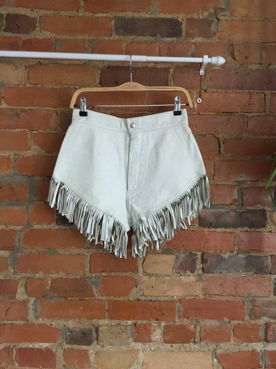White Leather Fringe Dolly Parton Booty Shorts