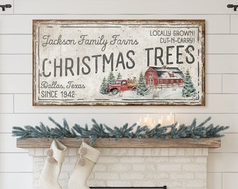 Vintage Farmhouse Christmas Signs Front Porch Personalized Primitive Christmas Sign Rustic Family Name Red Truck Farm Sign Fireplace Mantle