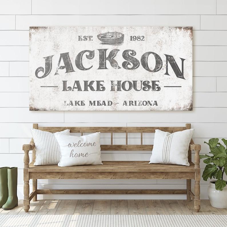 Custom Lake House Large Family Name Modern Farmhouse image 0