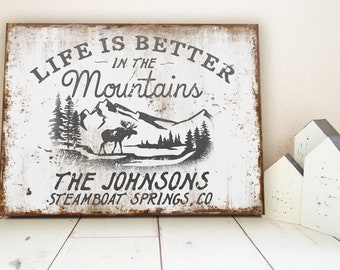 Custom Mountain Cabin Family Name Sign Life is Better in the Mountains Cottage Wall Decor Rusty Farmhouse Sign Personalized Rustic Wall Art