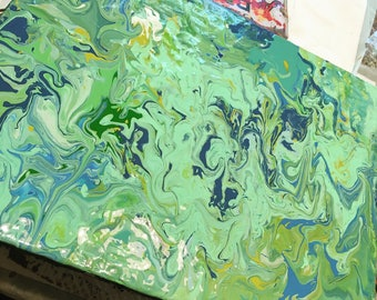 Green & blue flow painting