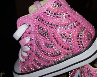8e2eb102824 Girls Custom Bling Converse High Top Pink Any Color  Adult sizes as well