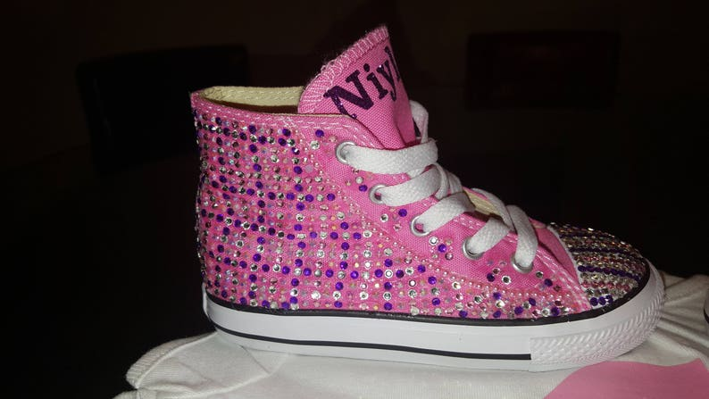 4c51b140f3da7 Girls Pink Converse Bling High Top with Custom Name Any Color