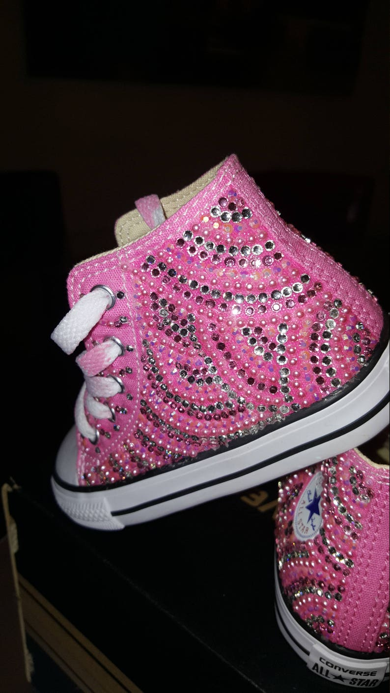 2e93019e8758 Girls Custom Bling Converse High Top Pink Any Color  Adult sizes as well