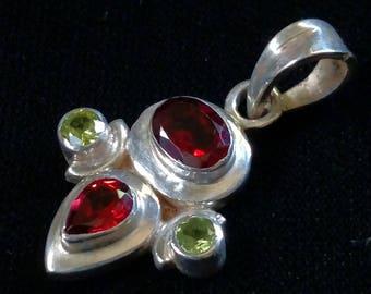 Garnet and Peridot Sterling Silver Pendant. Peridot Pendant. Garnet Pendant. Multi Gemstone Pendant. Sterling Gemstone Pendant.