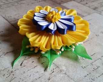 Composite Flower Yellow Blue Accordion Pleated Beauty Hair Clip Pin