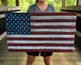 Wooden American Flag Breast Cancer Thin Pink Line Etsy