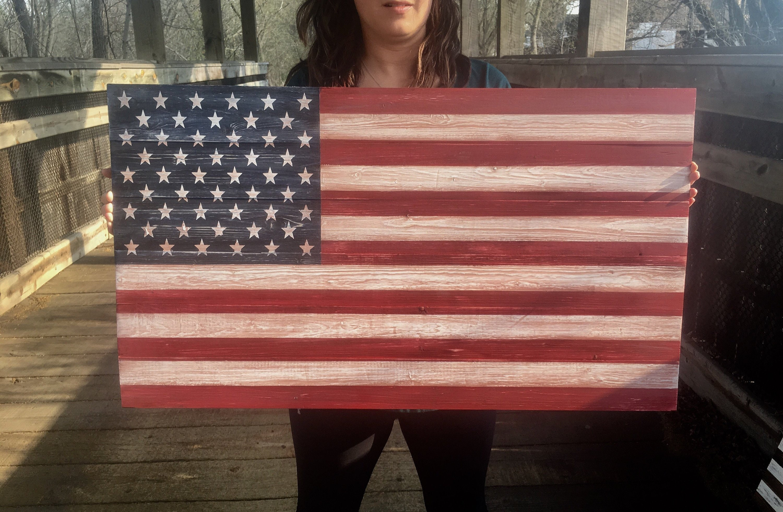 Wooden American Flag Wood Flag Wall Art Wood American Flag Rustic Flag Wall Decor American Flag Sign