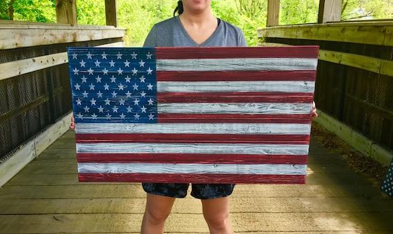 Wooden American Flag Wood Flag Wall Art Wood Flag Wooden Flag Rustic Home Decor American Flag Sign