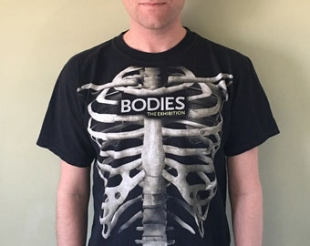 Bodies: The Exhibition Bone Ribcage Skeleton Black Tee