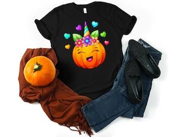 ON SALE this week ONLY Girls Fall Pumpkin Unicorn Raglan Graphic T shirt Halloween Thanksgiving shirt personalized with name or monogram
