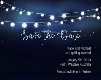 Save the Date Digital Invitation- Midnight