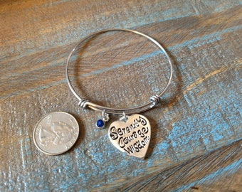 Serenity Courage Wisdom Expandable Stainless Steel Charm Bracelet