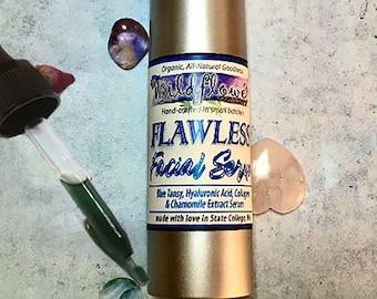 Blue Tansy FLAWLESS Facial Serum - Hyaluronic Acid, Chamomile, Collagen Peptides | Organic Balancing, Anti-Aging, Sensitive Skin Moisturizer