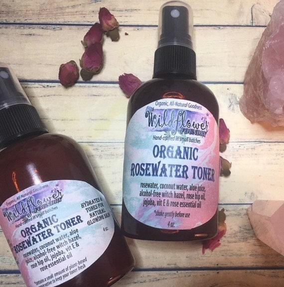 RoseWater Toner with Bulgarian Damask Rose, Aloe-Coconut Water, Jojoba &  Rose Hip Oil | Hydrate, Tone, Refresh Facial Skin | Organic Natural