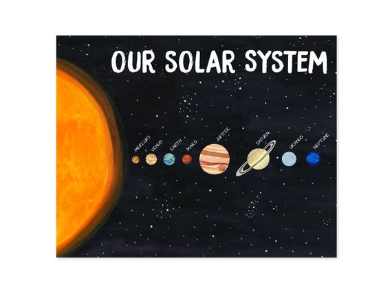 solar system print solar system poster planets poster space etsy
