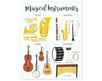 Music Poster Music Art Music Wall Art Musical Instruments Art Musical Instruments Wall Art Kids Room Decor Kids Prints Kids Poster
