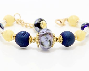 Memory Wire and Clasp Bracelet. Lampwork Focal With Druzy Supporting Beads
