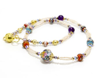Lampwork Necklace -   Coral and Plum, Artisan Lampwork Necklace