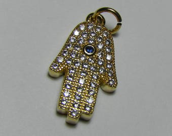 Gold plated Hamsa charm - Hand of Miriam - Hand of Protection