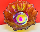 CARNIVAL GLASS BOWL vintage wave crest rim vtg mcm opalescent iridescent art gift collectible flower shape floral
