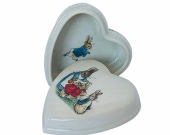 Children/'s Nursery Vanity Box Heart Shaped Melamine Box World of Peter Rabbit Box with Lid,Baby Shower Gift Peter Rabbit Trinket Box