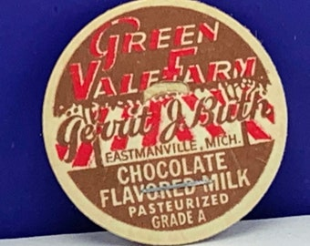 CHOCOLATE FLAVORED MILK LID Older GREEN VALE FARM EASTMANVILLE, MICH