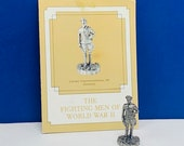 FRANKLIN MINT PEWTER The fighting men of world war ii 2 two miniature soldier figurine coa vtg ww2 wwii Cavalry Untersturmfuhrer Germany