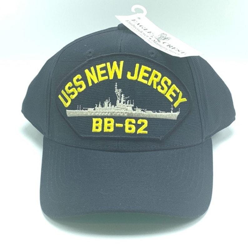 NAVY MILITARY HAT cap collectible usn boat ship aircraft carrier veteran  usa made us snapback hook loop uss New Jersey bb-62