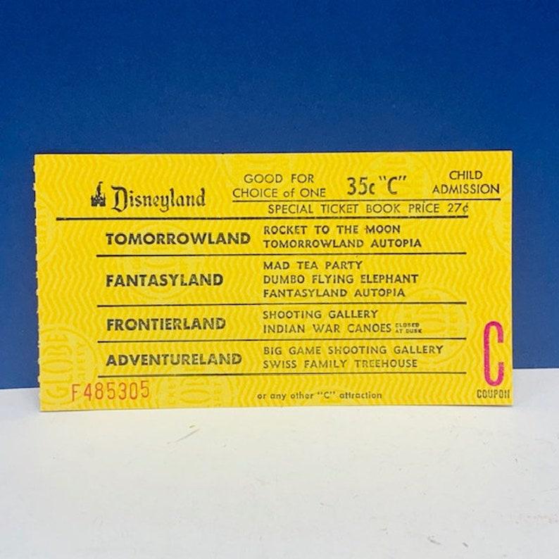 DISNEYLAND PAPER EPHEMERA 1956 tomorrowland fantasyland adventureland souvenir vintage mcm vtg green junior ticket admission child yellow
