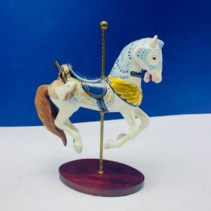FRANKLIN MINT CAROUSEL 1989 horse figurine porcelain vintage treasury art nib box original circus william manns Armored armor axe ax