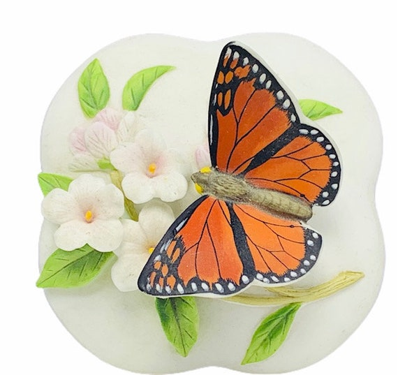 OTAGIRI JEWELRY BOX Japan porcelain tiger butterfly floral flower butterflies vintage trinket case figurine gorgeous condition