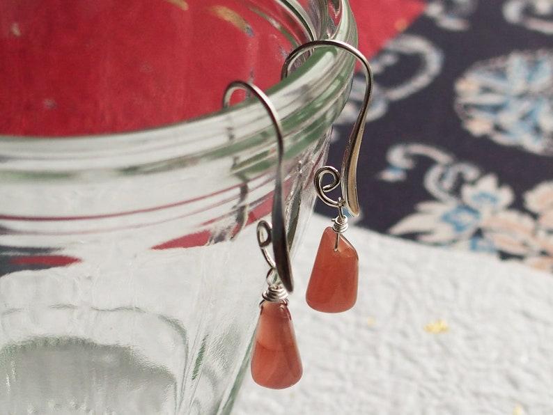 Rhodochrosite and Sterling Silver Drop Earring