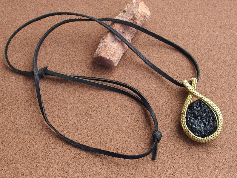 Pendant of Flat Tektite in the rough