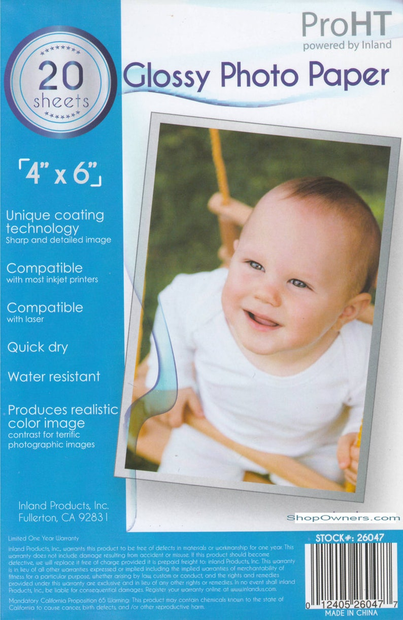 Glossy Photo Paper 4x6 20 Sheets with FREE Delivery image 0