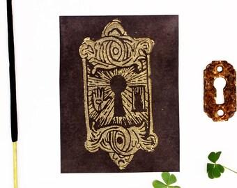 OCCULT LOCK,  Linocut Print, Color Change Print, Linocut Card, Linocut Block Print, Art Prints, Occult Print