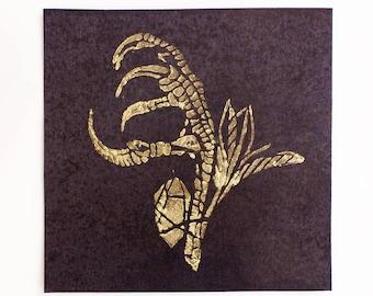 RITUAL BUNDLE, Linocut Print, Color Change Print, Linocut Card, Linocut Block Print, Art Prints, Occult Print