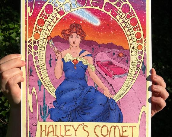 HALLEY'S COMET PRINT, phish print, phish poster, phish art, phan art, phish, chicks, alphonse mucha, art nouveau
