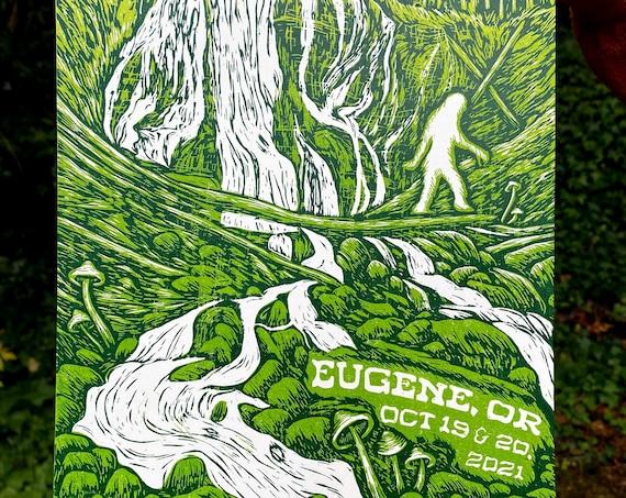 EUGENE PHISH PRINT, Eugene phish, phish fall tour, fall tour 2021, phish print, phan art, phish art, phish chicks, eugene oregon, bigfoot