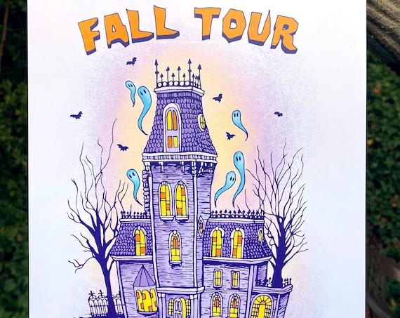 FALL TOUR PRINT, Phish fall tour, fall tour 2021, phish tour 2021, phish, phish art, phan art, haunted house, addam's family, phish chicks