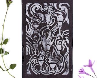 SEVEN OF CUPS, Linocut Print, Color Change Print, Linocut Card, Linocut Block Print, Art Prints, Tarot Cards