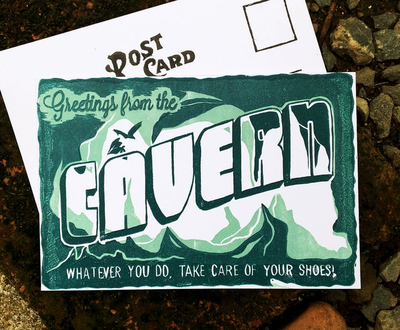 Phish postcard Linocut card Phan Art Cavern Phish Print Cavern Postcard CAVERN PHISH POSTCARD Phish Print Phish Art