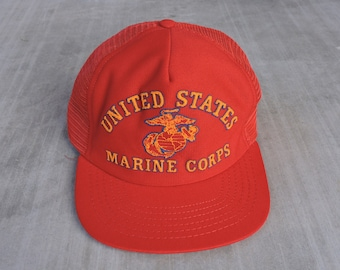 dfb01b3d4e4ca RARE Vintage 80s USMC United States Marine Corps Red Snapback Baseball Cap  USA Made