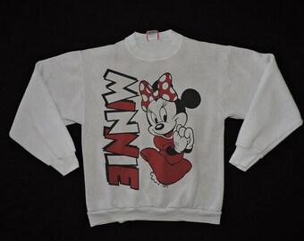 7c6d49a02756 Rare Vintage Minnie Mouse Walt Disney Mickey Light Gray Pullover Sweatshirt  T-shirt S USA Made 80s 90s