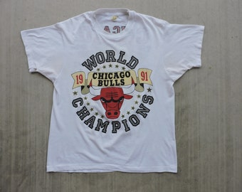 93a625bb99b5ac RARE Vintage 90s 1991 Chicago Bulls World Chamions Thin 50 50 Double Sided T -shirt L